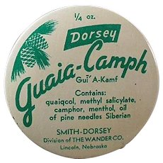 Vintage Guaia-Camph Ointment Medicine Tin- Old Medical Advertising Tin