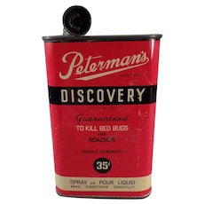 Vintage Advertising Tin - Peterman's Discovery Poison for Roaches and Bed Bugs
