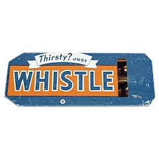 Vintage Tin Advertising Whistle - Golden Orange Refreshment - Whistle Soda