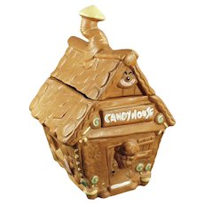 Vintage Gingerbread Candy Shack Cookie Jar - Twin Winton House with Elf 1960's
