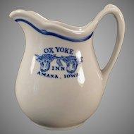 Vintage Restaurant China -  Amana Colonies Ox Yoke Inn Advertising Cream Pitcher