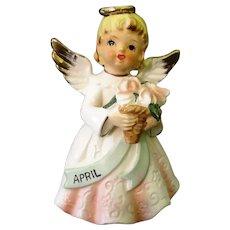 Vintage Porcelain Birthday Angel Figurine – April Birthday Girl