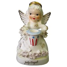 Vintage Napco Porcelain Angel - July Birthday Angel with Patriotic Hat