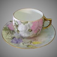 Vintage Hand Painted Bavarian Cup & Saucer with Pastel Floral Design