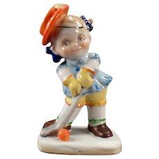 Vintage O.J. Little Girl Playing Golf - Occupied Japan Figurine
