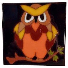 Colorful Vintage Edilgres Art Tile - Owl Design - Made in Italy