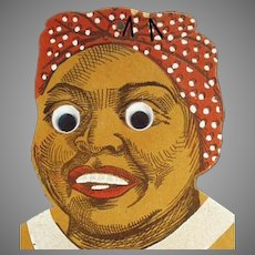 Vintage Black Memorabilia - Mammy with Google Eyes Wall Pocket - Die Cut