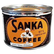 Vintage Sanka Coffee Tin - Maxwell House Key Wind Sanka with Turbaned Man Logo