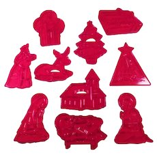Vintage HRM Cookie Cutters - Group of Ten Christmas Cutters including Nativity Manger Figures