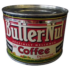 Vintage 1# Coffee Tin- Butter-Nut Key Wind One Pound Coffee Tin