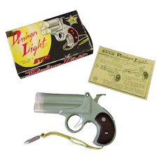 Vintage Derringer Light Battery Operated Novelty Flashlight – Plastic Pistol with Box