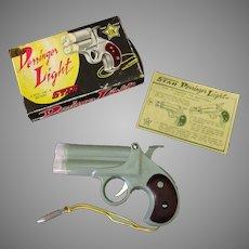 Vintage Derringer Light Battery Operated Novelty Flashlight – Plastic Pistol with Box