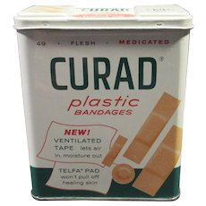 Vintage Curad Plastic Bandages Tin – 69c Large Economy Size 1960's