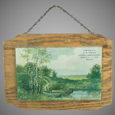 Vintage Down in Old Kentucky Advertising Print Behind Glass on Wood