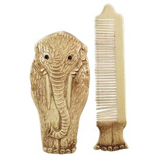 Vintage Novelty Elephant Moustache Comb - Early 1900's German Celluloid