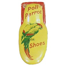 Vintage Tin Clicker Noise Maker - Poll Parrot Shoes Advertising Premium
