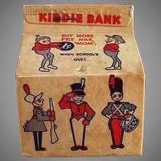 Vintage Pet Milk Advertising - Small Milk Carton Bank with Brownies and Toys