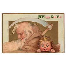 Vintage Frances Brundage New Years Postcard Father Time - Panama-Pacific Expo 1915