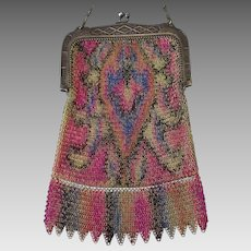 Vintage Whiting & Davis Tagged Evening Bag – Colorful Dresden Chain Mesh Flapper Purse