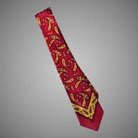 Men's Vintage Neck Tie – Classic Paisley Design in Maroon and Gold