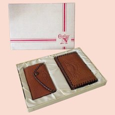Vintage Cavalier Wallet Billfold with Matching Key Holder in Original Gift Box – 1950's