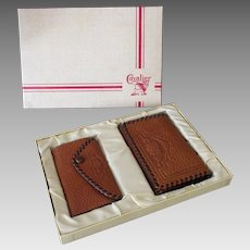 Vintage Cavalier Wallet Billfold with Matching Key Holder in Original Gift Box – 1950's