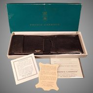 Vintage 1960's Black Leather Prince Gardner Wallet Billfold with Original Gift Box