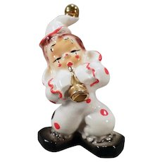 Vintage California Josef Original Porcelain - Little Clown with Shiny Gold Horn