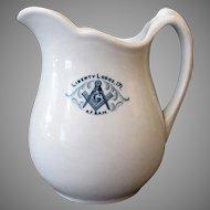 Vintage Masonic Liberty Lodge 171 Restaurant China Pitcher - 1923
