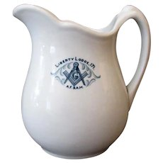 Vintage Masonic Liberty Lodge 171 Restaurant China Pitcher - 1923