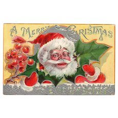 Vintage Christmas Postcard – Colorful Santa Claus and Christmas Holly