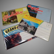 Four Vintage Foldout Souvenir Postcards - Columbia River, Grand Canyon, Mt Rushmore, Grand Teton
