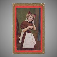 Vintage Photograph Postcard with Young Maid on a Telephone Party Wire