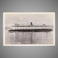 Vintage Ferry M.S. Willapa Photograph Postcard - Seattle, Washington