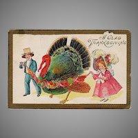 Vintage 1910 Thanksgiving Postcard - Big Turkey and Young Children