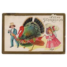 Vintage 1910 Thanksgiving Postcard - Big Turkey and Young Children