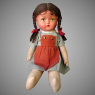 Vintage Doll – Celluloid & Cloth, Pinafore & Pigtails - Original Clothes