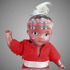 """Vintage Celluloid Boy Doll - Very Cute Indian Brave 7"""" Doll"""