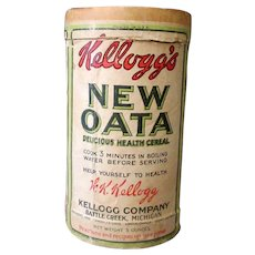 "Vintage Kellogg's New Oata Sample Oat Box - 4"" Tall Old Oatmeal Cereal Box"