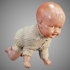 Vintage Celluloid Baby Doll with Crawling Action - Celluloid Wind Up Toy