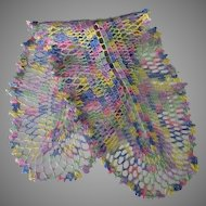 Vintage Crocheted Doily in Multicolored Thread – Elongated Oval Dresser Runner Scarf