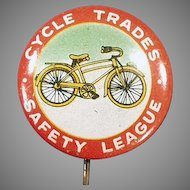 Vintage Pin Back Advertising Button - Bicycle Safety Pinback with Nice Graphics