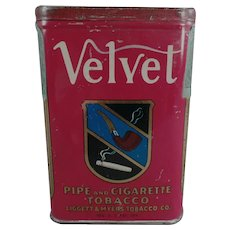 Vintage Velvet Pipe & Cigarette Tobacco Advertising Tin