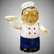 Vintage Wind Up Celluloid Toy - Black Waiter  - Occupied Japan.