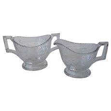 Vintage Heisey Glassware Cream & Sugar Set – Wheel Cut Floral Design