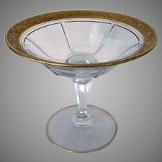 Vintage Heisey Glassware Rib & Panel Stemmed Compote Serving Dish with Gold Trim