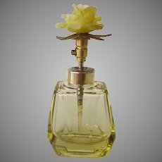 Vintage Perfume Bottle - Atomizer with Yellow Flower Rose Cap