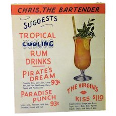 Vintage Chris the Bartender Table Top Drink Menu