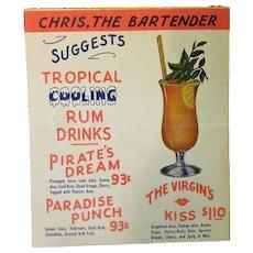 Vintage Chris the Bartender Table Top Drink Menu