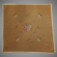 """Vintage Floral Needlepoint – 21"""" Square Needle Work – Flowers on Gold Ground"""